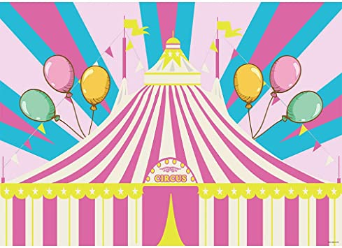 OERJU 15x10ft Vinyl Baby Shower Backdrop Circus Theme Party Colorful Tents Garlands Balloons Pink Ribbon with Customize Space Kids Birthday Photography Background Party Decor Banner Photo Studio Prop
