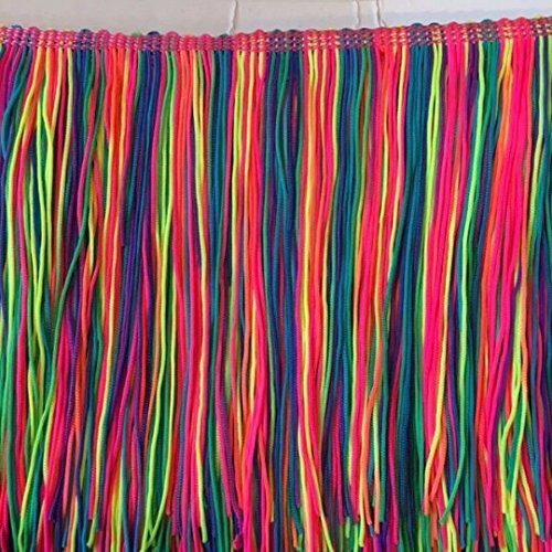 5'' Inch Long Fringe Neon Rainbow Chainette Fringe Price Per Yard