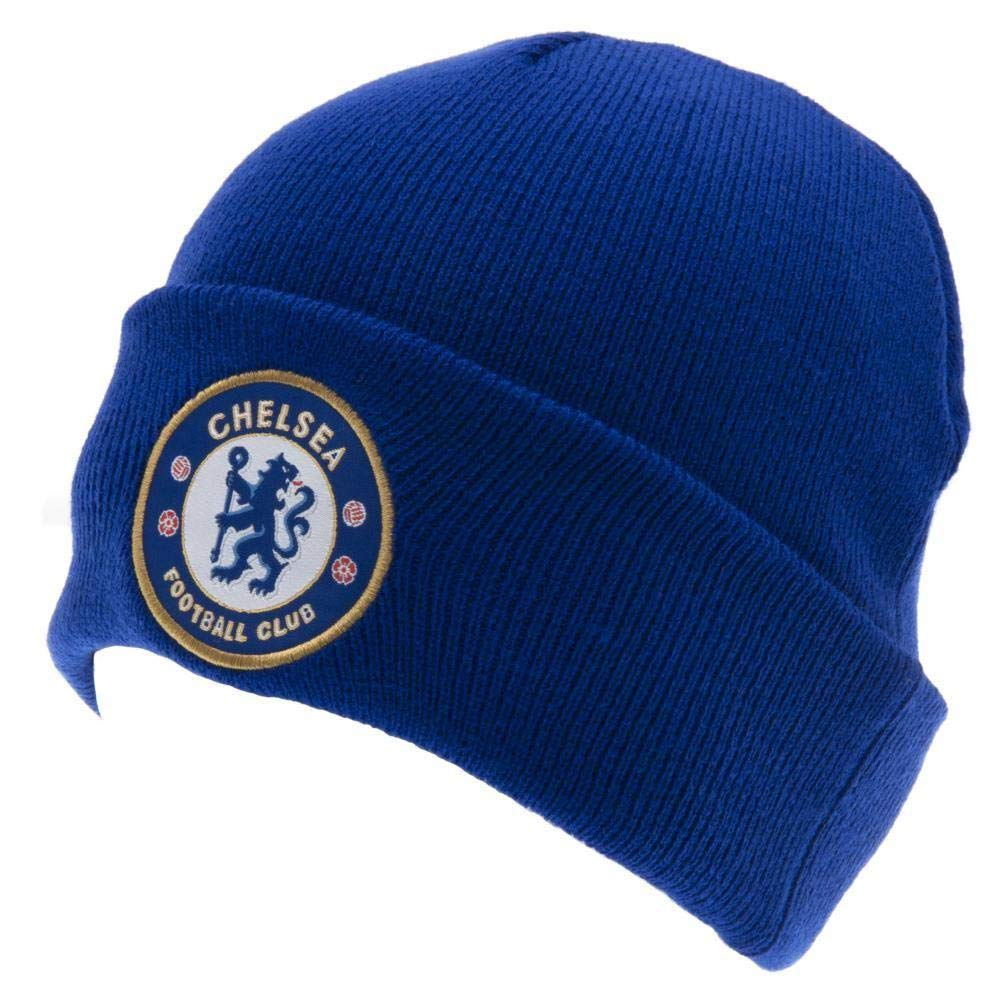 Chelsea FC Official Adults Knitted Winter Soccer//Football Crest Hat