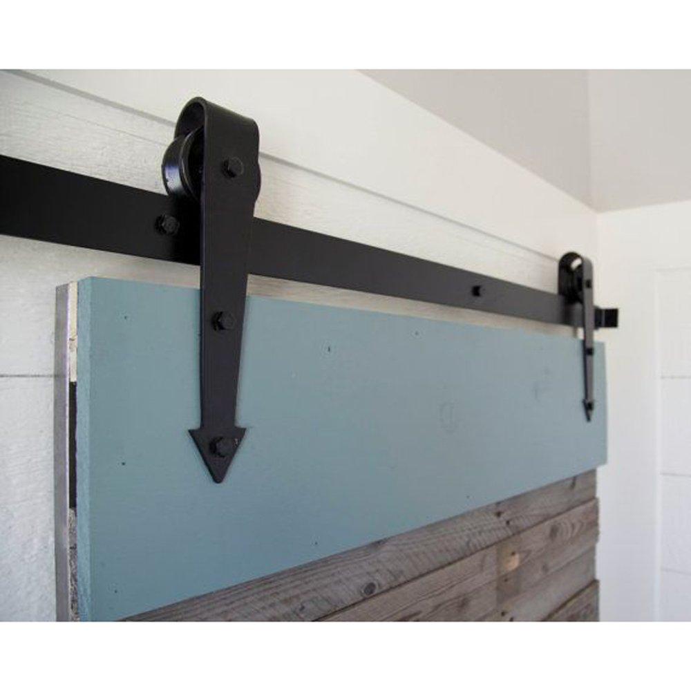 hahaemall 5/Ft//152,4/cm Design ARROW Noir Pays Grange en Bois Porte simple coulissante en acier Set Hardware Closet