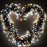 Globe String Lights, 400 LEDs Bulb Fairy Lights 26ft Double Colour Water-Resistant Decorative Starry Lights for Xmas party(Warm white + Daylight)