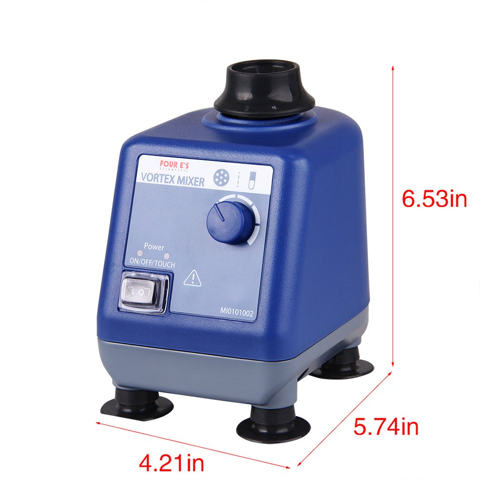 Four E's Scientific Laboratory Vortex Mixer Speed 0-3000rpm, Orbital Diameter 6mm, 50/60Hz, Touch and Continuous Modes, Mix 50ml containers Within 3 Seconds - Benchtop for Clinic Classroom Lab by FOUR E'S SCIENTIFIC (Image #2)