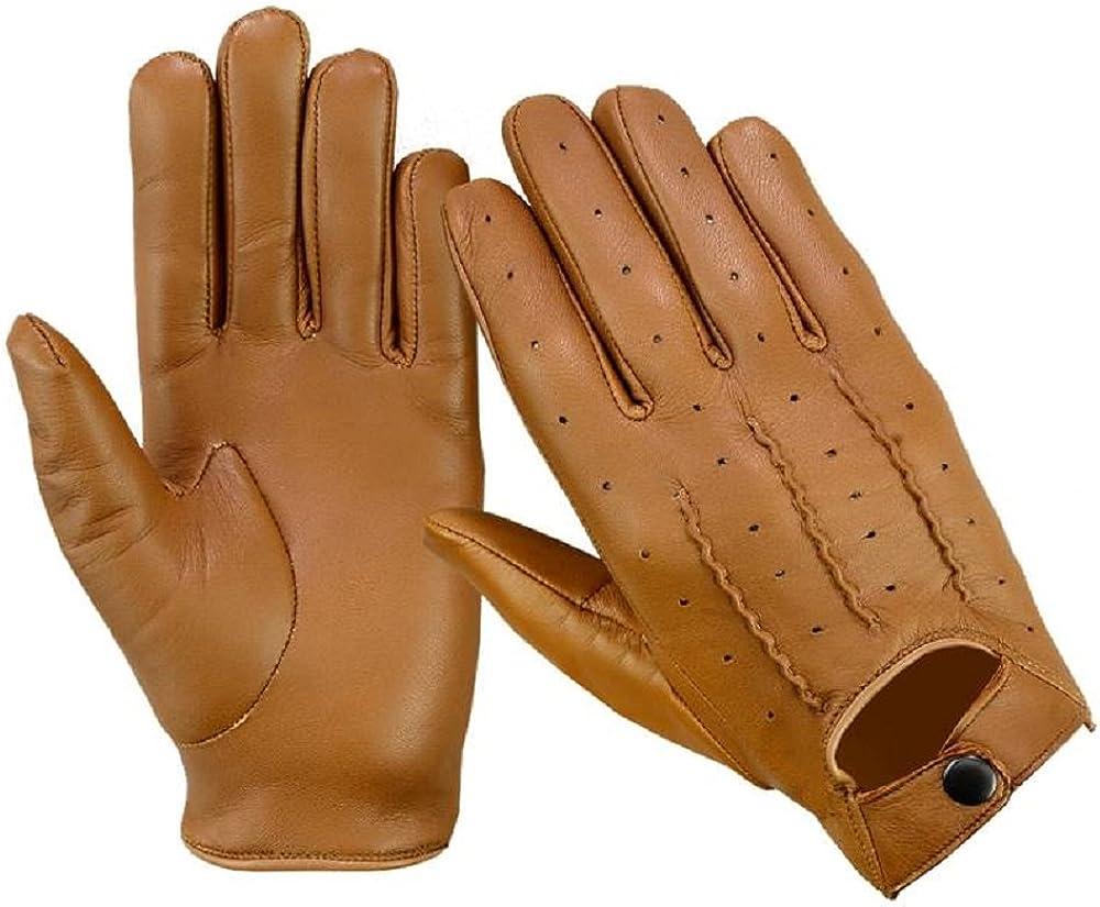 in vera pelle morbida per motocicletta alla moda guanti stile vintage LN101 Guanti da guida da uomo