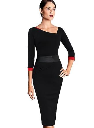 2e40e0315ed VFSHOW Womens Elegant Peplum Buttons Slim Work Business Office Church  Sheath Dress 2276 BLK XS