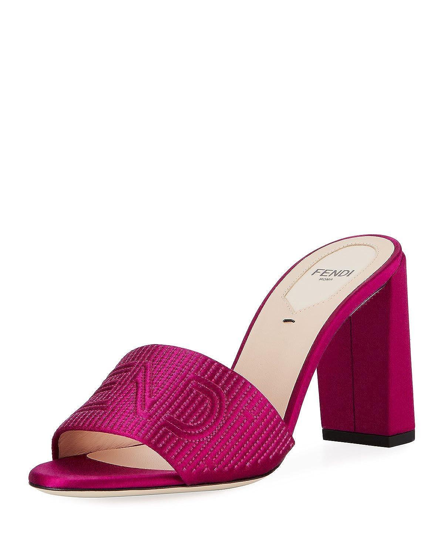 d5bcba2c Amazon.com | Fendi Stripy Satin 85mm Slide Mule, Pink 37.5 ...