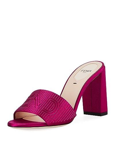 8ac52faa6c Amazon.com | Fendi Stripy Satin 85mm Slide Mule, Pink 37.5 | Sandals