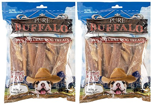 Loving Pets Pure Buffalo Paddy Whack Backstrap Tendon 4-6 inch Dog Treat, 20-Pack [2-Pack]