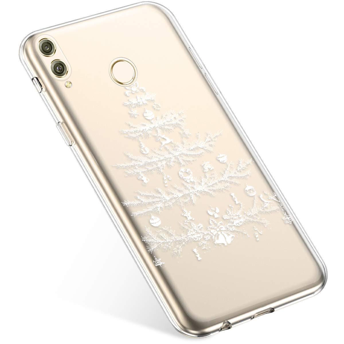 Uposao Handyhülle Huawei Honor 8X Max Schutzhülle Transparent Silikon Schutzhülle Handytasche Crystal Clear Durchsichtige Hülle TPU Cover Weich TPU Bumper Case, Weiß Schneeflocken PYHT00031212