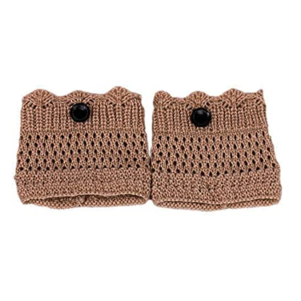KingNew Calcetines de punto de ganchillo para mujer, con un botón, para invierno,
