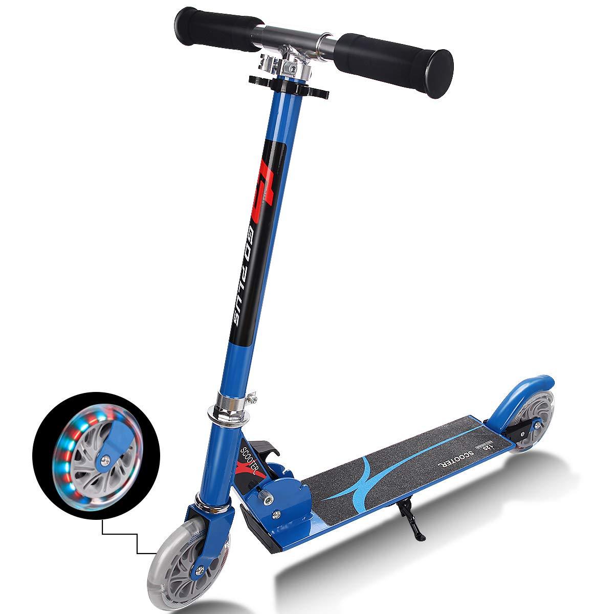 FDS Costway Scooter Roller Tretroller Kinderroller Cityroller klappbar Big Wheel höhenverstellbar mit 2 Blinkenden Räder Farbwahl