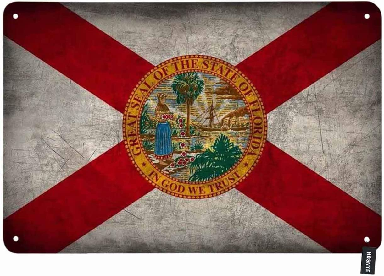 HOSNYE Florida State Flag Tin Sign Vintage Metal Tin Signs for Men Women Wall Art Decor for Home Bars Clubs Cafes 8x12 Inch