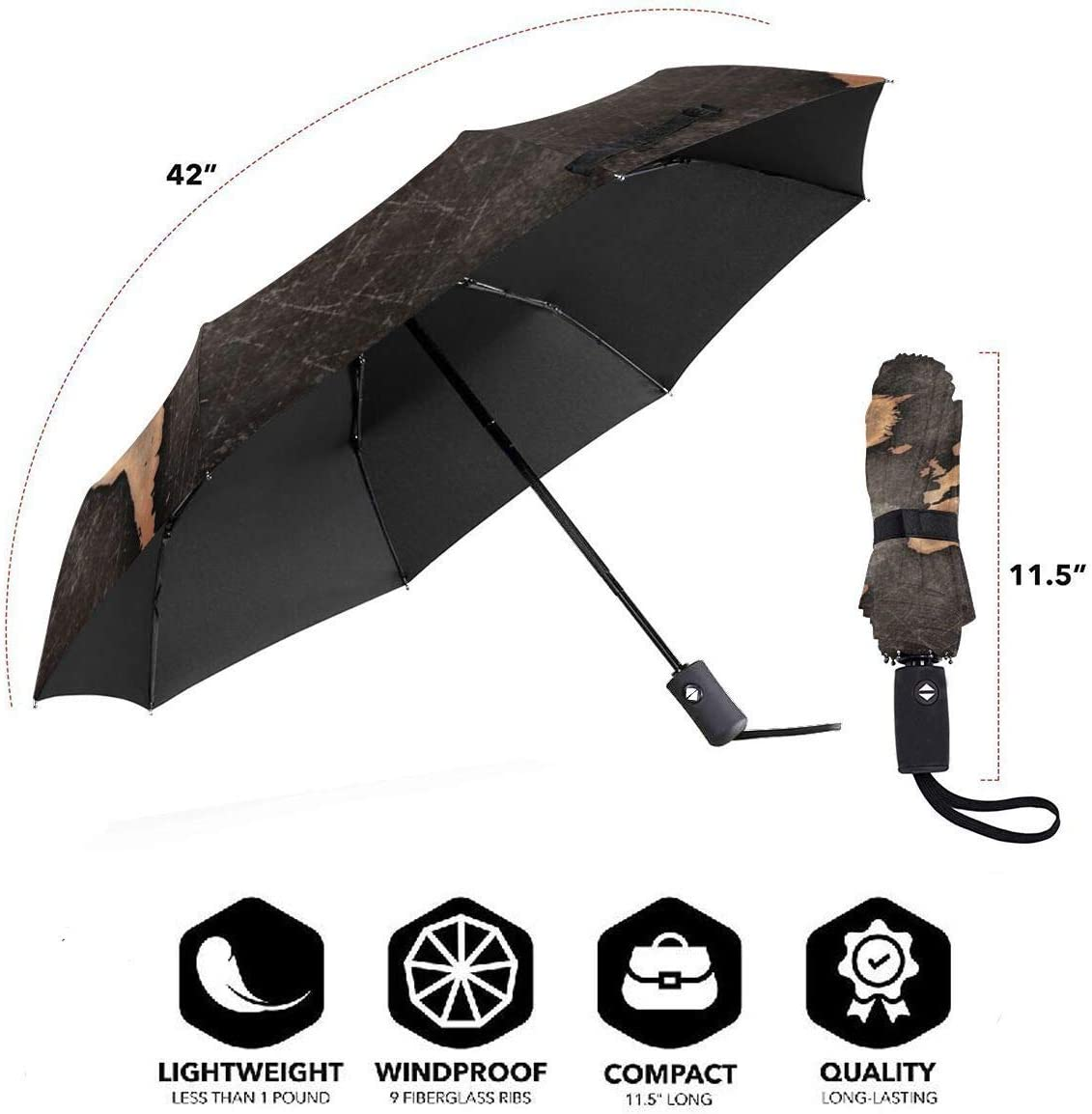 Windproof Reinforced Canopy Ergonomic Handle Auto Open//Close Multiple Colors World Map 2 Compact Travel Umbrella