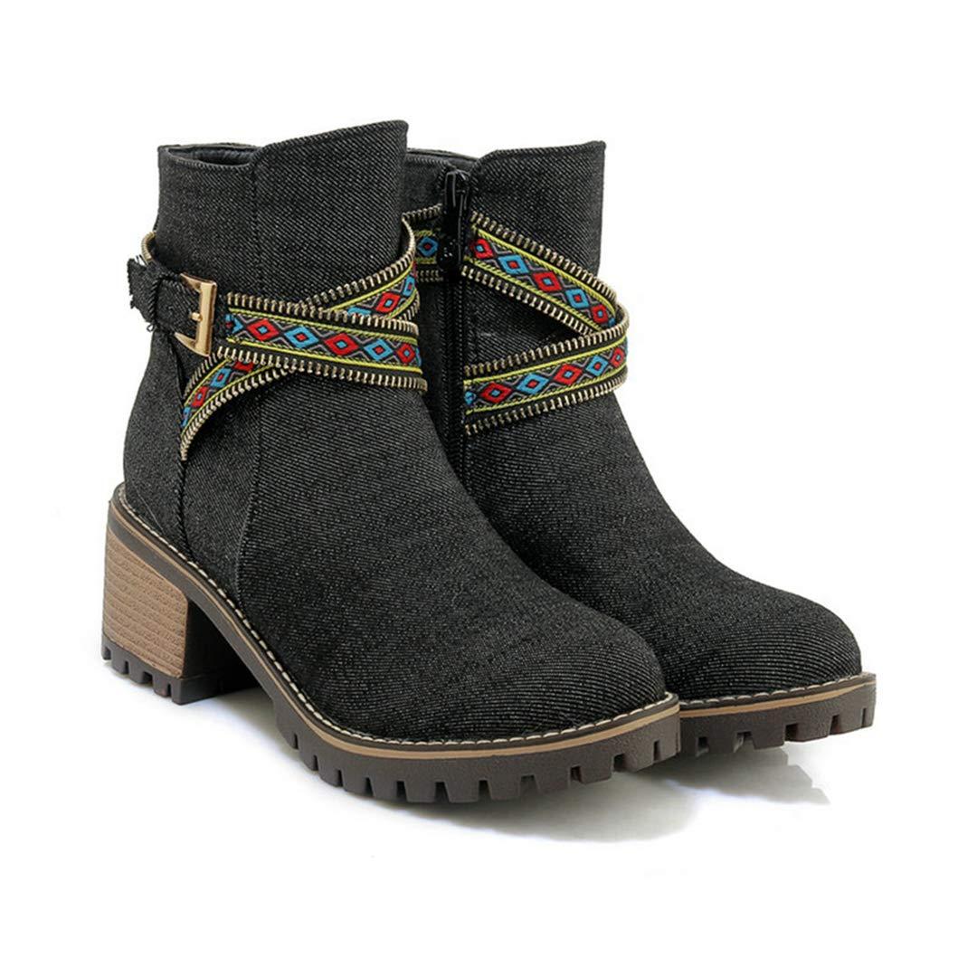 OLADO Hohe Stiefel für Damenmode Vintage Winter Runde Zehe Warm Plüschkappe Stiefelie  | Haben Wir Lob Von Kunden Gewonnen