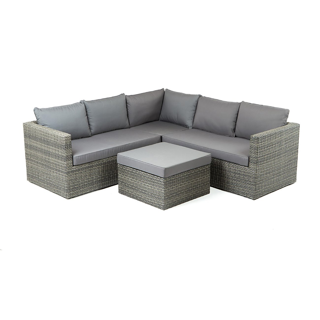 Gartenlounge Polyrattan OUTLIV. Gibson Loungemöbel Garten Outdoor Geflecht Mixed Brown / Royal Blenden Black Lounge-Set