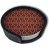オーバールックホテルカーペットホルダーセット付きパグシームレスパターンコースター、ドリンク用のラウンドマグとカップマットパッド、家庭やキッチンに適しています(6PCS)