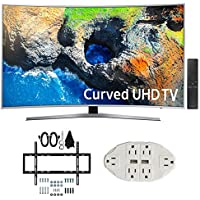 Samsung UN49MU7500 48.5 Curved 4K UHD Smart LED TV (2017 Model) w/ Wall Mount Bundle Includes, Slim Flat Wall Mount Ultimate Bundle Kit & Transformer Tap USB w/ 6-Outlet Wall Adapter and 2 Ports
