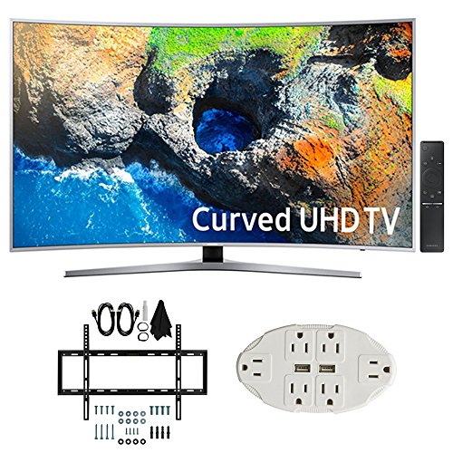 "Samsung UN49MU7500 48.5"" Curved 4K UHD Smart LED TV  w/ Wall"