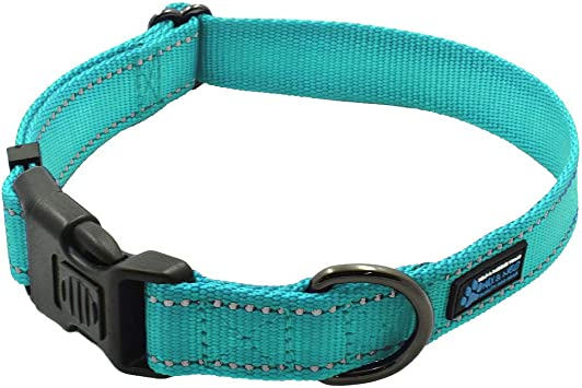 Max and NeoTM NEO Nylon Buckle Reflective Dog Collar Medium, Teal We Donate a Collar to a Dog Rescue for Every Collar Sold