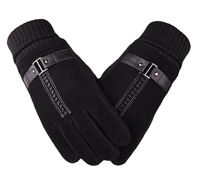 a71ea954831 ANDYOU Men s Stylish Windproof Fleece Touch Screen Thermal Gloves Black One- Size