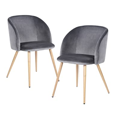 EGGREE Mid Century Modern Velvet Accent Living Room Chair Set of 2 Upholstered Leisure Club Chair Vanity Chairs Armrest with Solid Metal Legs Velvet Cushion for Bedroom Living Room Kitchen,Grey