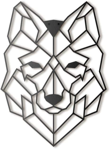 Hoagard Wolf Metal Wall Art - Decoración geométrica para Pared - Lobo - Metal - 37x50cm
