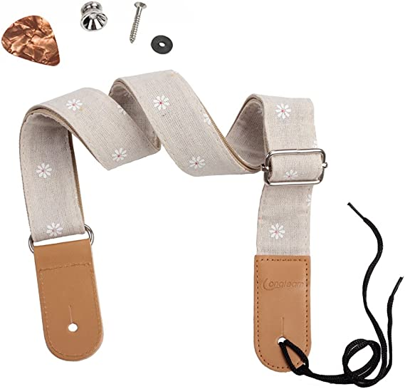 HOT SEAL Linen Style Adjustable Genuine Uke Leather Metal Hook Ukulele Strap Strong Back Straps (Linen Daisy)