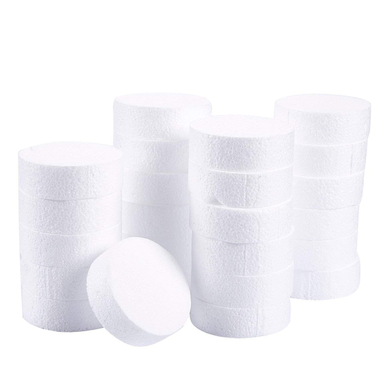 Craft Foam Circle Modeling White 12 x 12 x 1 Inches 6-Pack Polystyrene Foam Disc Foam Round for Sculpture DIY Arts and Crafts