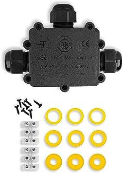 Caja de Conexiones, Eléctricos Exterior Conector Cable,IP68 Impermeable cajas de conexión de cables con 3 Vías subterráneo cajas conexiones electricas para Cable, de Diámetro Ø4mm - 14mm Negro: Amazon.es: Bricolaje y herramientas