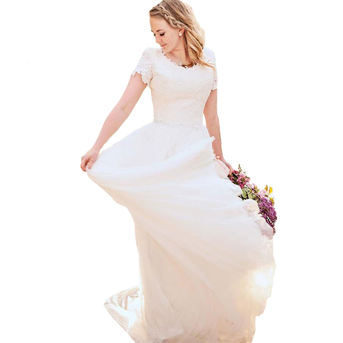 Yuxin Short Sleeves Wedding Dress for Bride 2018 Appliques A Line Outdoor Country Bridal Dresses Party Gown