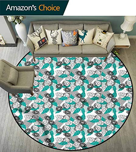 (RUGSMAT Doodle Modern Flannel Microfiber Round Area Rug,Modern Rose Blossoms Foam Mat Bedroom Decor Round-31)
