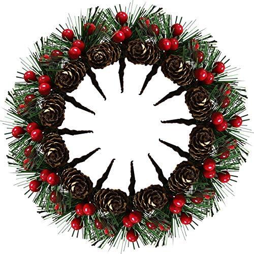 20 Pezzi Picks Artificiali in Pino Decorazione dell'albero di Natale in Pino Artificiale da 3,15 Pollici, Pigne Piccole Bacche finte per Decorazioni da tavola per Feste di Natale in Giardino