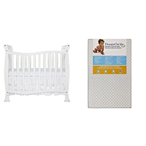 Dream On Me Violet 4 in 1 Convertible Mini Cribwith Dream On Me 3 Portable Crib Mattress, White
