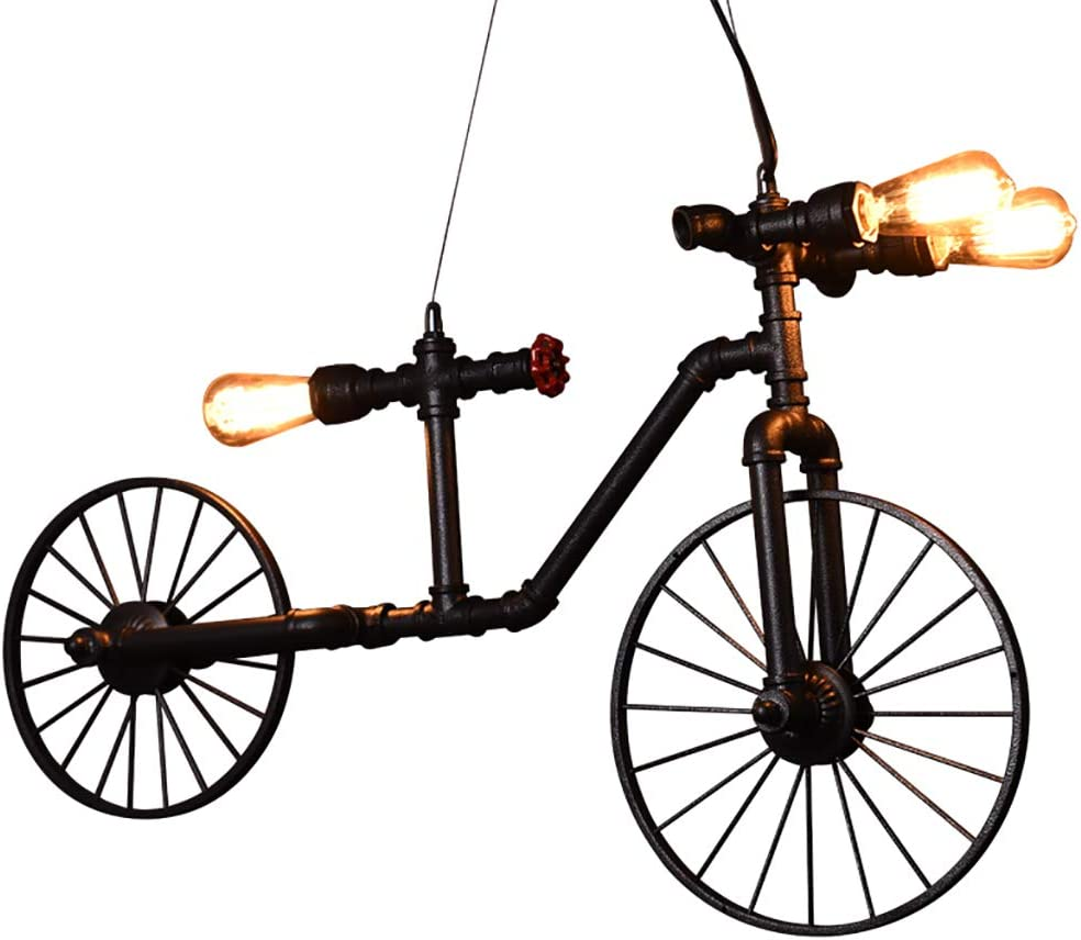 Luces de arte Sala de la lámpara de la bicicleta LED 3 luces 4W (blanco caliente) / Pipas de agua de hierro for niños, 58 * 97cm (Color : LNDBDDO)