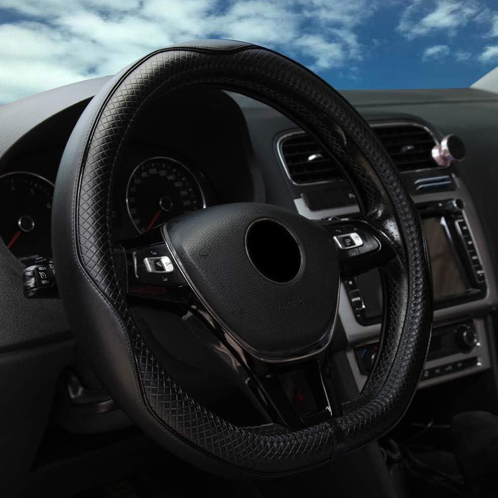 Unverisal for 14.5-15 Steering Wheel Car Steering Wheel Covers Black 38cm Anti-slip ZATOOTO Leather Steering Wheel Cover