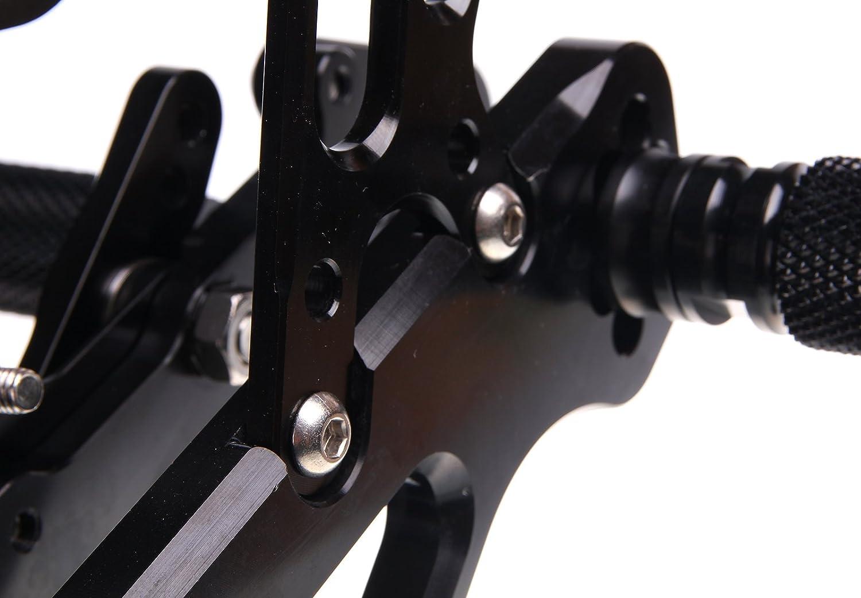 TARAZON R/églable Commandes Recul/ées Rearset Repose Pieds pour Yamaha YZF R6 2006-2015