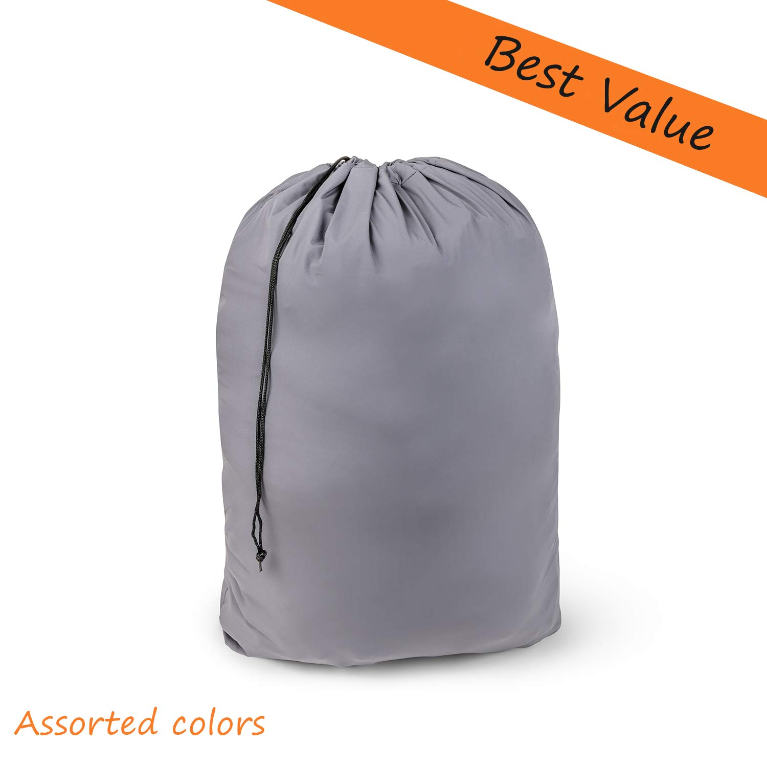 """Large Nylon Laundry Bag 30"""" x 40"""" Rip Tear Resistant Material Drawstring Closure - Assorted Colors Patterns (6)"""