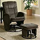 Coaster Recliner with Ottoman Reclining Glider in Chocolate Chenile