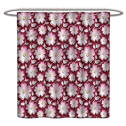 (TimBeve Shower Curtain Floral,Japanese Cherry Blossom,Mildew Resistant,Washable,Non-Toxic,Odorless,Spa,for Bathroom 72
