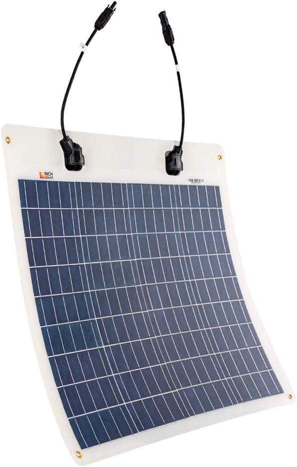 50W Flexible Poly RICH SOLAR 50 Watt 12 Volt Extremely ETFE Flexible Polycrystalline Solar Panel Ultra Lightweight