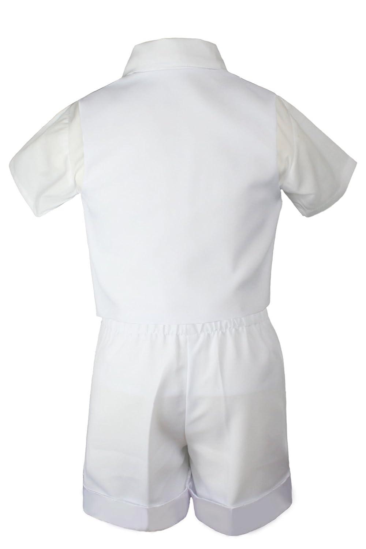 Baby Boy Toddler Baptism Christening 5PC White Vest Shorts Necktie Hat Suit S-4T