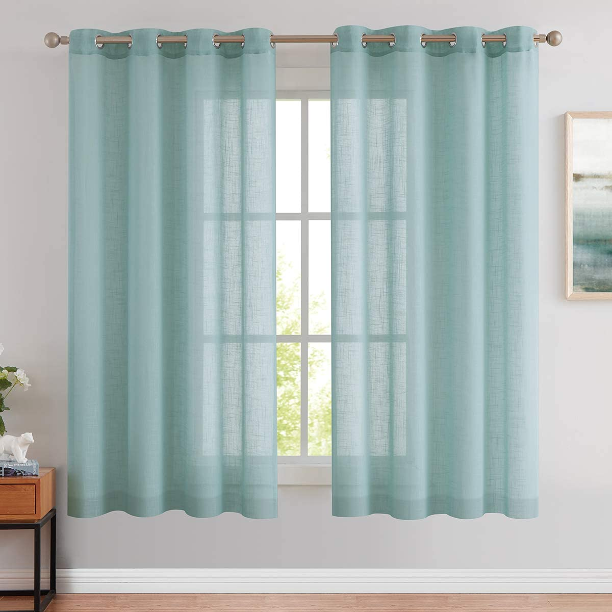 Amazon Com Best Dreamcity Solid Grommet Top Faux Linen Semi Sheer Curtains For Living Room Pack Of 2 Panels W52 X L63 Blue Green Home Kitchen