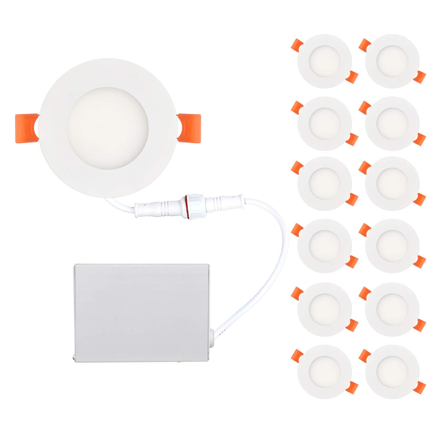 OSTWIN 3 inch 6W (30 Watt Repl.) IC Rated LED Recessed Low Profile Slim Round Panel Light with Junction Box, Dimmable, 4000K Bright Light 420 Lm, 12 Pack No Can Needed ETL & Energy Star Listed