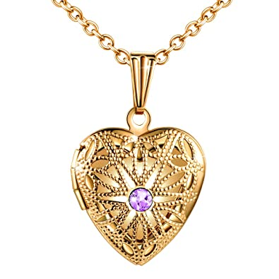 90d6e5699 MicLee Ladies Necklace Photo Locket Pictures Amulet Purple Cubic Zirconia  Heart Pendant Necklace Stainless Steel Gift Box Greeting Card:  Amazon.co.uk: ...