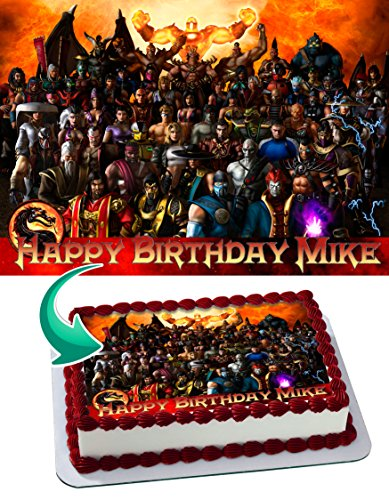 Mortal Combat Edible Cake Image Personalized Icing Sugar Paper A4 Sheet Edible Frosting Photo Cake 1/4 ~ Best Quality Edible Image for cake