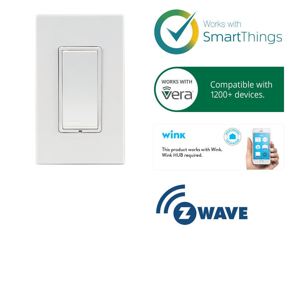 Leviton Dzs15 1lz Decora Z Wave Controls 15 Amp Scene Capable Switch 3 Way Smartthings White Ivory Light Almond Tools Home Improvement