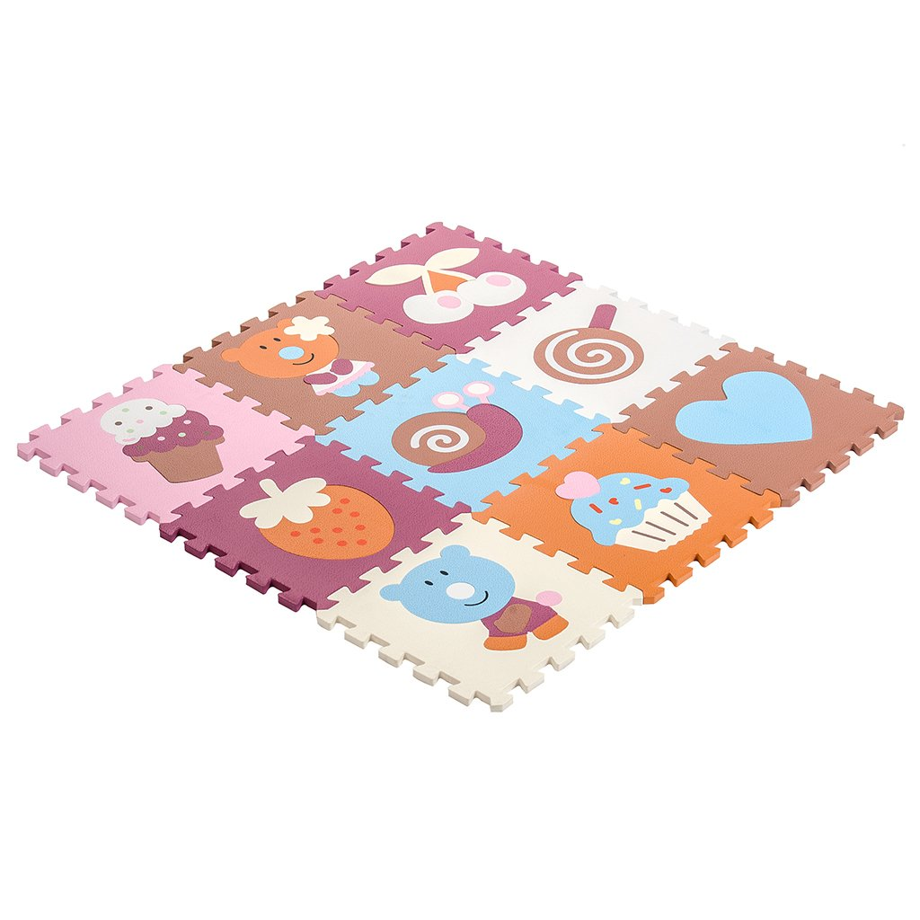 Zoeshare Puzzle Play Mat Kids Extra Thick Foam Mat,9 Piece, Little Flower, Each Tile 12''x 12''x 0.6''