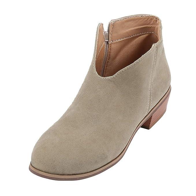 ❤ Botines para Mujer,Retro Mujer tacón Cuadrado de Color sólido Botas de Gamuza Botas de Cremallera Zapatos de Punta Redonda Absolute: Amazon.es: Ropa y ...