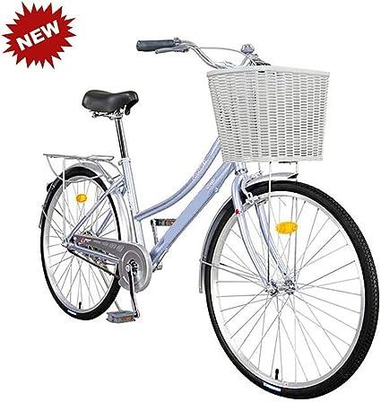 Bicicleta 26 pulgadas adulto aleación de aluminio macho y hembra estudiantes de una sola velocidad retro de viaje bicicleta azul HRTT: Amazon.es: Coche y moto