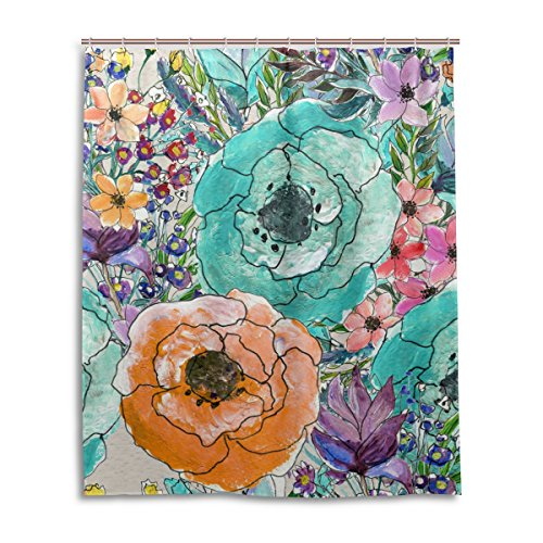 Bath Shower Curtain 60x72 Inch,Art Watercolor Elegant Floral,Waterproof Polyester Fabric (Floral Watercolor Quilt)