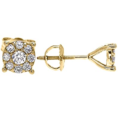 89a0aac3d 1 Carat Halo Diamond Cluster Stud Earrings in 9 ct Yellow Gold (Large):  Amazon.co.uk: Jewellery